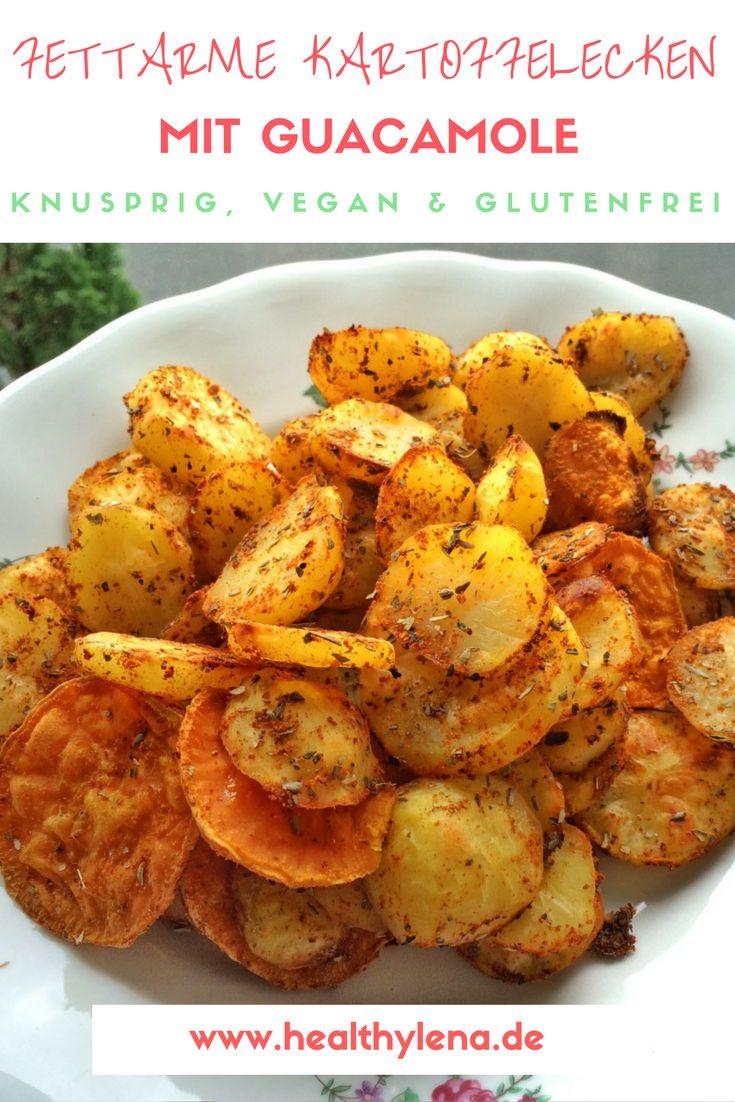 Knusprige & fettarme Kartoffelecken mit würziger Guacamole - lecker, vegan & glutenfrei! Das günstige Gericht, das jedem schmeckt. #mittag #abendessen #rezept #rezepte #inspiration #ofenkartoffeln #kartoffeln #pommes #selbstgemacht #ohneöl #lowfat #lunch #gesund #healthylena #healthy #highcarb #vegetarisch #dip