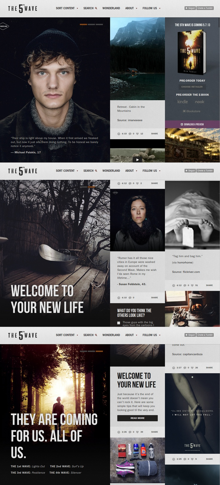 The 5th Wave Is Coming website... Amazing! So interactive and unique for a book website, really augments the story! Via Awwwards Website: http://the5thwaveiscoming.com/