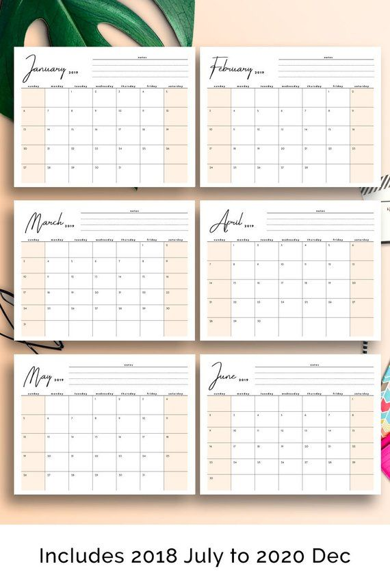 2019 Monthly Planner, 2019 Desk Calendar, 2019 Printable Calendar