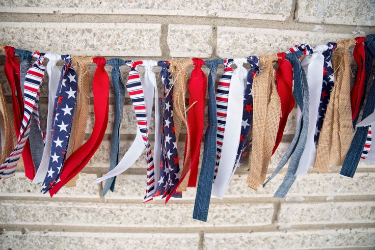 AMERICANA HOME DECOR,Photo Prop,Burlap and Denim Garland,Banner,Fourth of July Decor,Military Decor,Rustic Decor,Holiday Party Decor by BlueBirdShack on Etsy