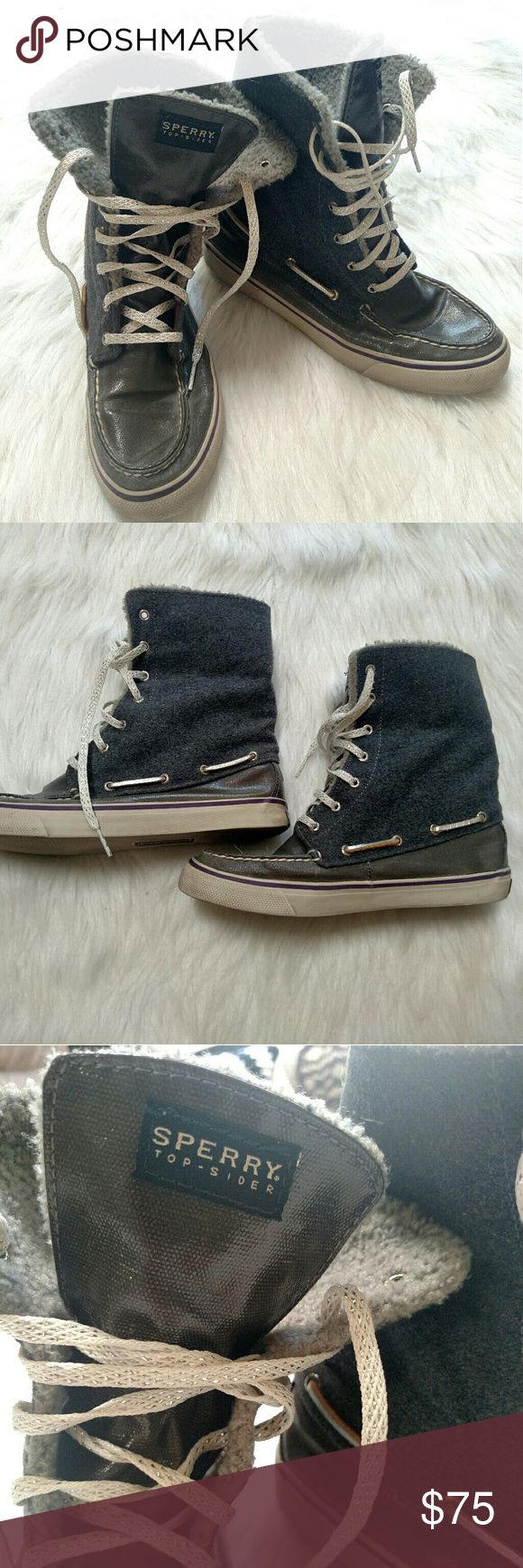 Sperry topsider women's 8M shoes hightops Used but great condition Sperry high top shoes.  Faux fur tops, shiny rubber and glittery shoe laces. Sperry Top-Sider Shoes Sneakers
