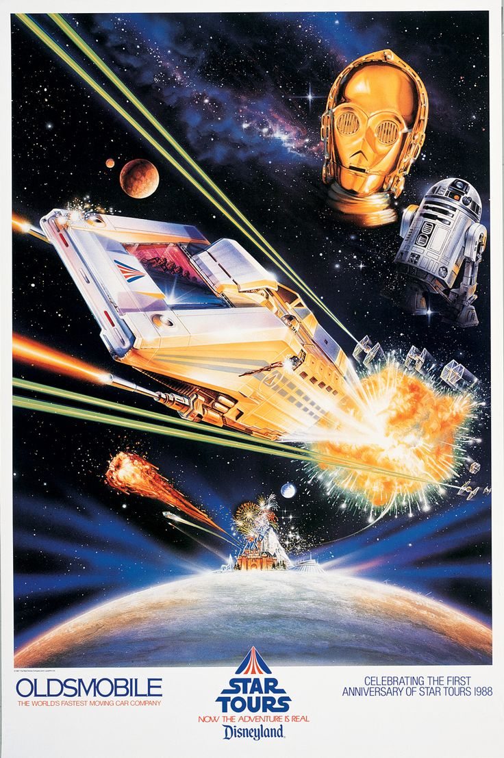 """Poster commemorating the first anniversary of Star Tours at Disneyland. """"Lightspeed to Endor!"""""""