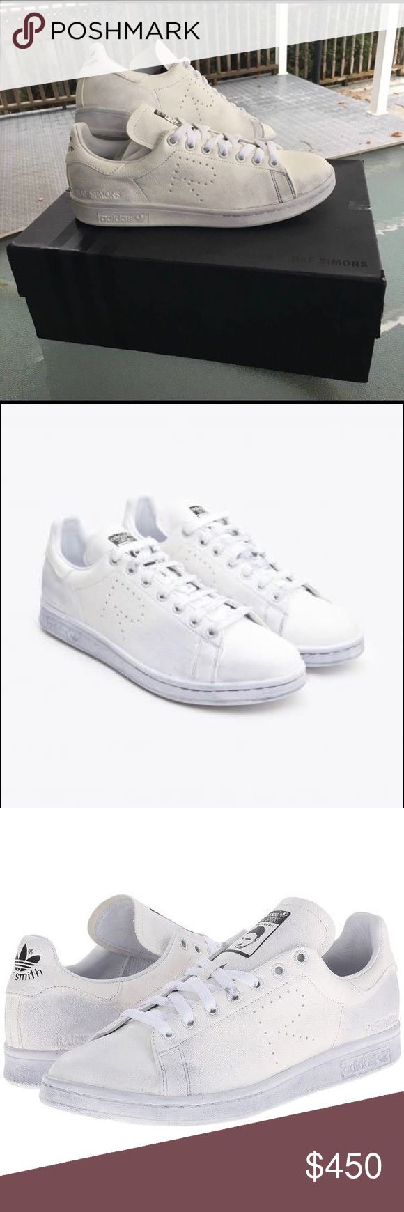 White Raf Simons Aged Leather Adidas Brand New in box never worn Raf Simons aged leather adidas....Retail $489...sold out in stores.... US size 9 mens... im open to selling them off of the site for less adidas Shoes Sneakers