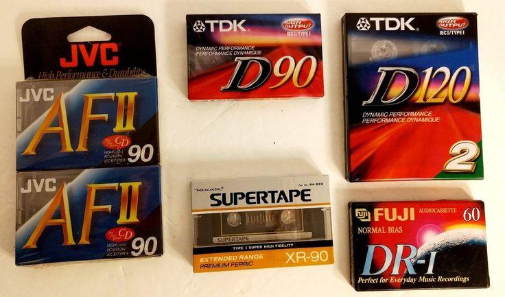 Mixed LOT 7 NOS Sealed Blank Cassette Tapes Sony, TDK JVC FUJI REALISTIC #mixedlot #MixedLotCassetteTape #JVC #Realistic #TDK #Fuji