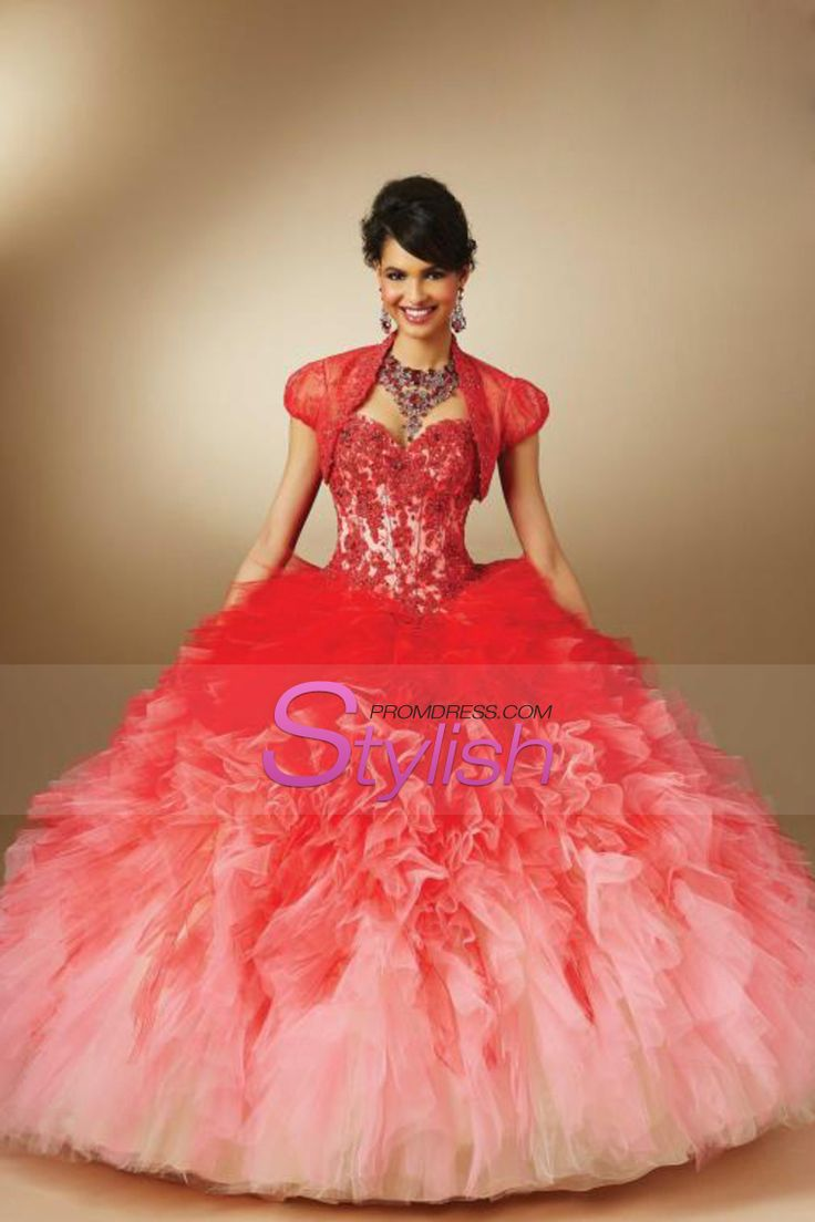 2015 Gradient Color Sweetheart Quinceanera Dresses Ball Gown With Beads And Applique Floor Length Tulle