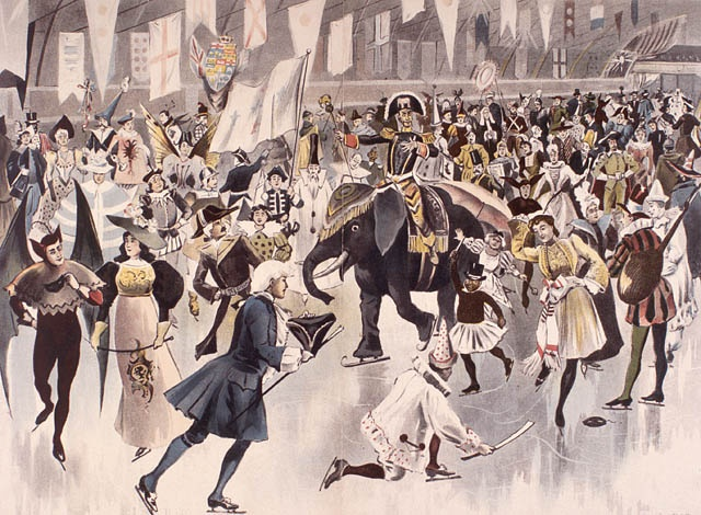 Mascarade à la patinoire Rideau, carnaval d'Ottawa, 1895, par J.A. Phillips, Ottawa.  Bibliothèque et Archives Canada, MIKAN: 2897991.