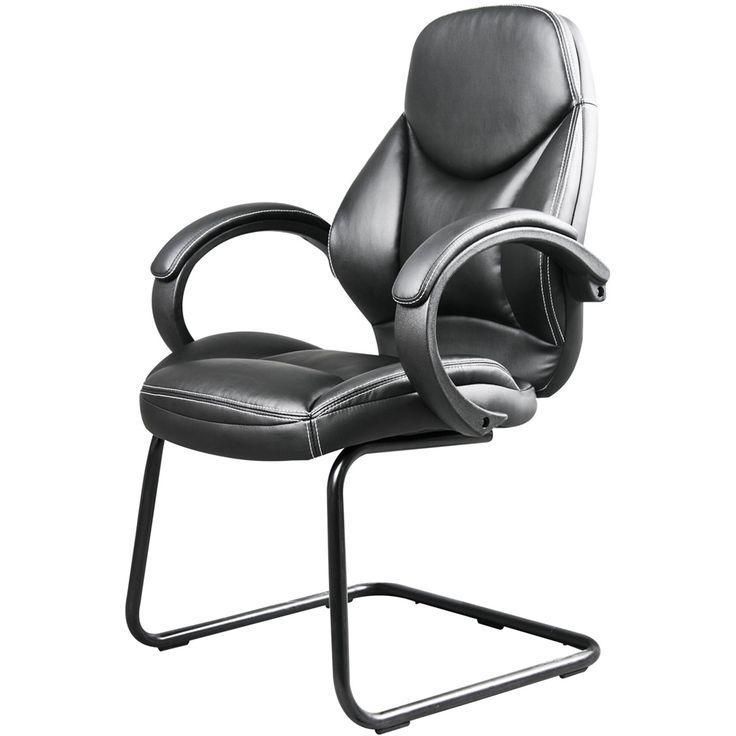 CorLiving - Workspace Office Metal Foam Bonded Leather Chair - Black