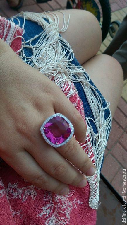 Купить Крупный серебряный перстень с султанитом - разноцветный, султанит, перстень с султанитом, султанит в серебре