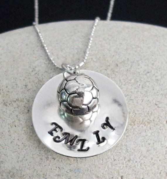 Check out this item in my Etsy shop https://www.etsy.com/listing/256961500/personalized-soccer-necklace-handstamped