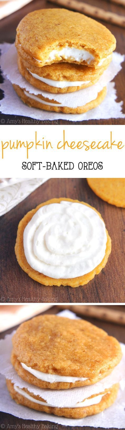 Pumpkin Cheesecake Sandwich Cookies -- homemade soft-baked Oreos with no-bake cheesecake filling! SO addictive & barely 100 calories!