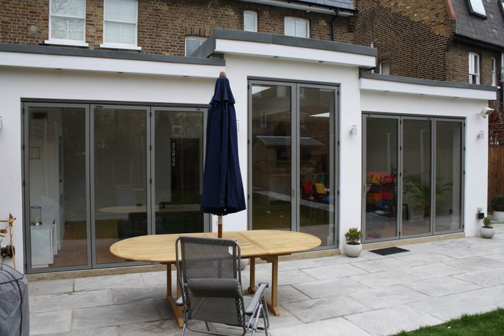 2 sets of sunflex SF55 installed folding doors and large French door in RAL 9007