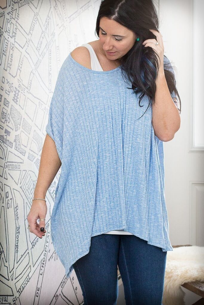 Image of Ribbed Dolman Style Tunic - Blue