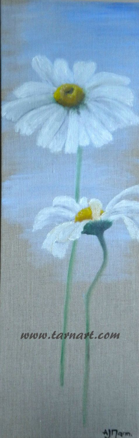 3d canvas art, daisy painting , flower art , decorative art, fine art painting, white flower painting, canvas wall art,original oil painting - pinned by pin4etsy.com