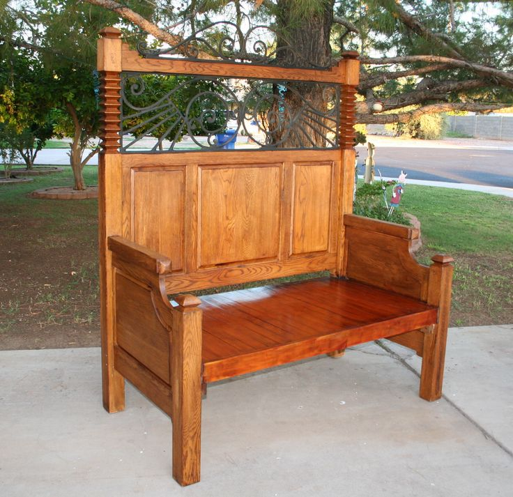 Made from an oak bedframe, this one stands almost 7 feet tall and weighs over 100 pounds.  Yep, I made it, too!