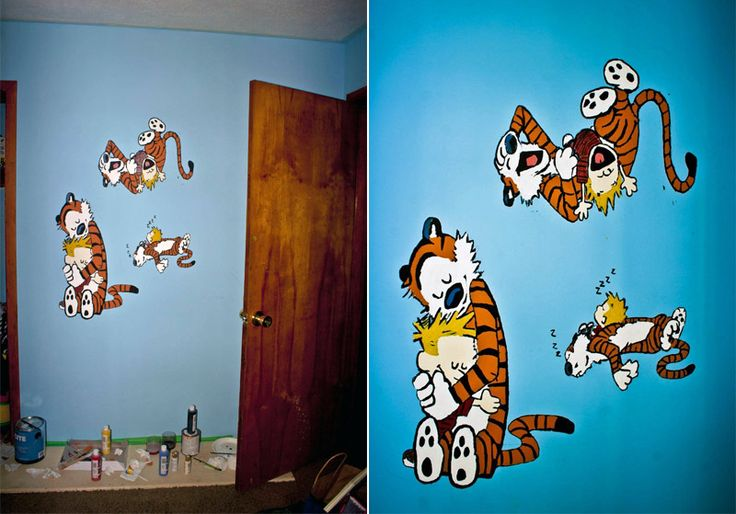 17 best images about baby room on pinterest storage for Calvin and hobbes nursery mural