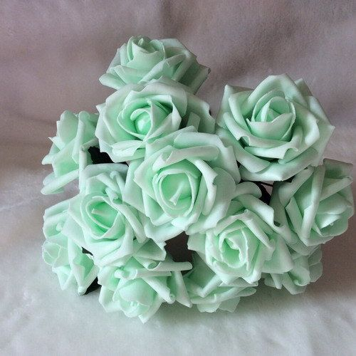 72 pcs Mint Green Roses Artificial Flowers by HandcraftsInStudio                                                                                                                                                      More