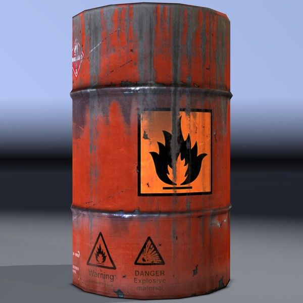 Flammable Barrel - http://www.turbosquid.com/3d-models/barrel-flammable-explosive-obj/718299