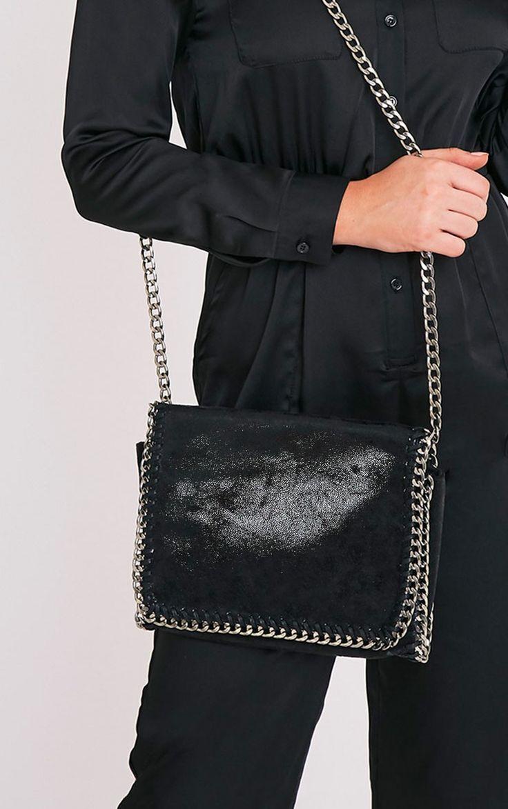 Mylo Black Metallic Chain Detail Strap Shoulder Bag