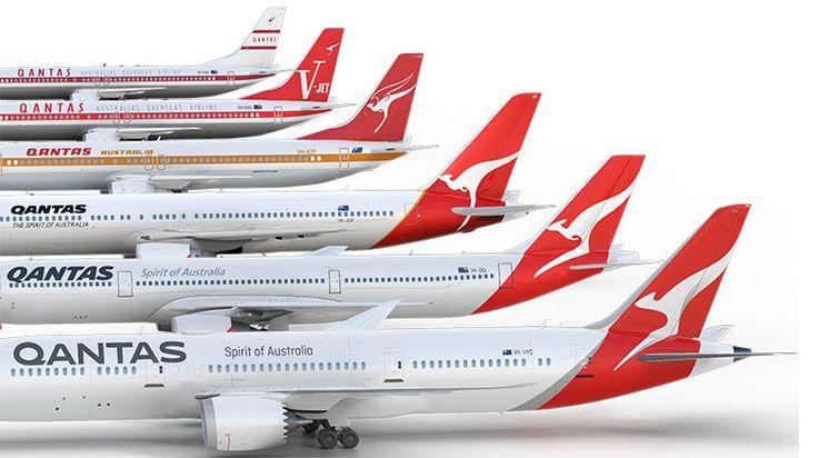 Evolution of the Qantas livery.