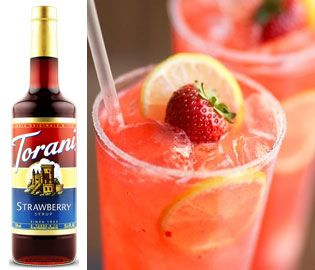 Torani Strawberry Syrup | Italian Soda Syrup--Recipe for Perfect Lemonade w/ strawberry and raspberry syrups.