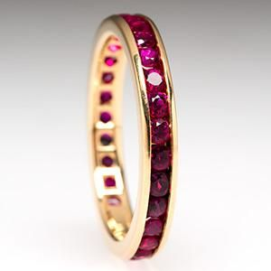 Tiffany & Co. Ruby Eternity Band Wedding Ring 18K Gold $1419