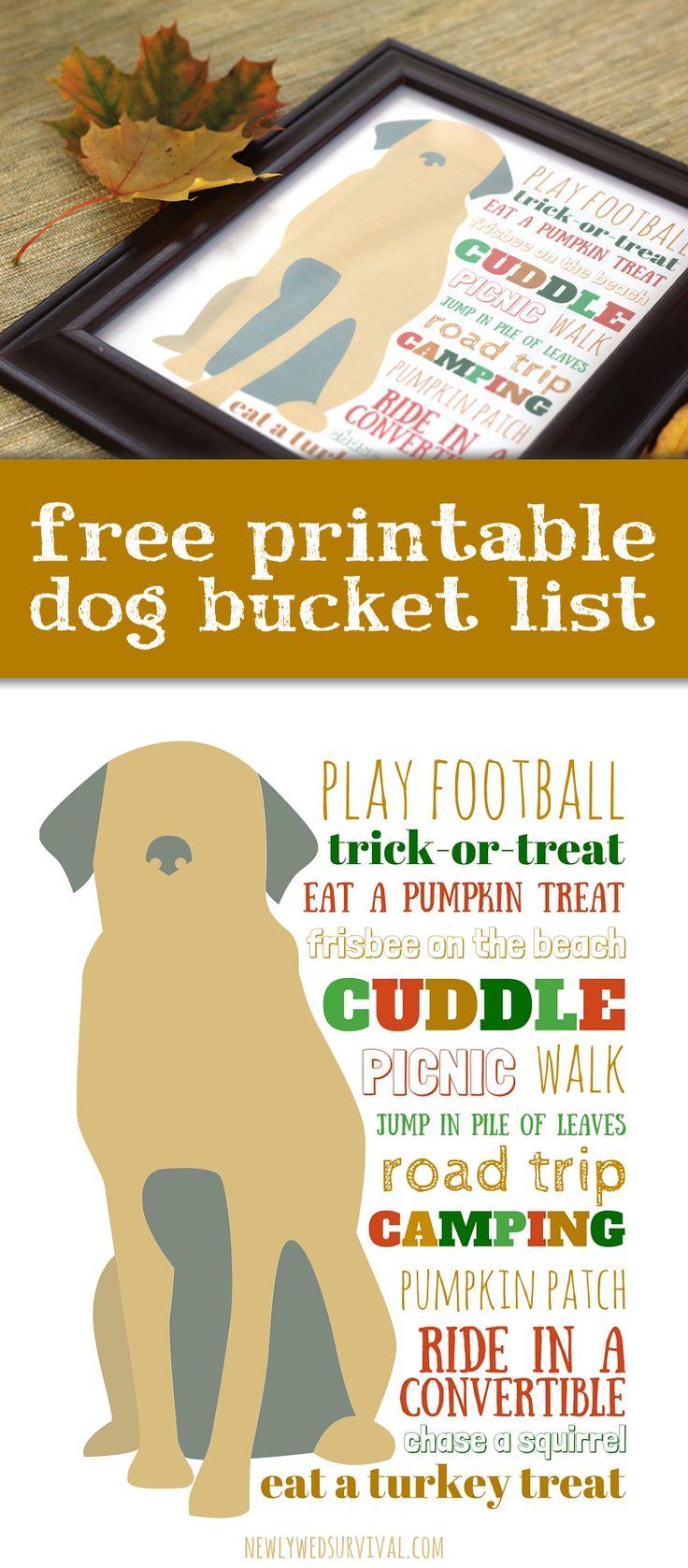 Fun dog bucket list for fall + a free printable! #PinnacleHealthyPets #ad