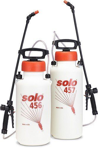 Solo® 457V Hand-held Sprayer 3 Gal by Solo. $44.75. Fewer strokes to pressurize. Chemical Resistant. Nylon carrying strap. 3 gallons. Features an air hose attachment for pressurizing with an air compressor. Specially designed pumps with a spraying pressure of up to 45 psi means over 50% fewer pump strokes than other sprayers. Viton® chemical-resistant seals and O-rings stand up to harsh chemicals. Tank, pump and sprayer parts are all made of corrosion-resistant high-density pol...