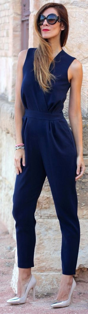 Kuka & Chic Navy Street Chic Tailored Sleeveless Jumpsuit