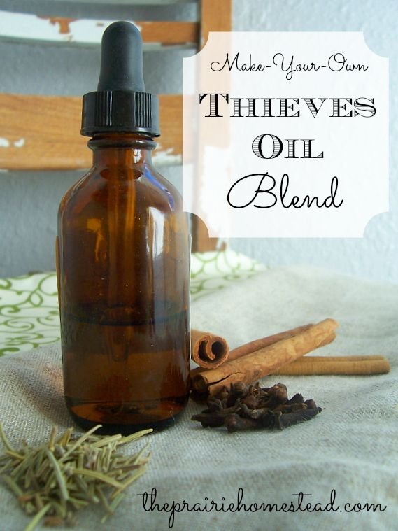 DIY Thieves Oil Recipe: 1) 20 drops clove essential oil.   2) 18 drops lemon essential oil.   3) 10 drops cinnamon bark essential oil.   4) 8 drops eucalyptus essential oil.   5) 5 drops rosemary essential oil    Combine all oils and store in a dark glass container (such as the little amber bottles you can get at the health food store). This makes a fairly small amount, so feel free to double or triple the recipe.