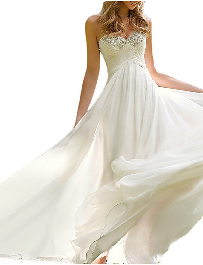 78bf78485e1 Favors Dress Women s Sweetheart Beach Wedding Dress Bead Bridal Gown Empire  HS26 at Amazon Women s Clothing store