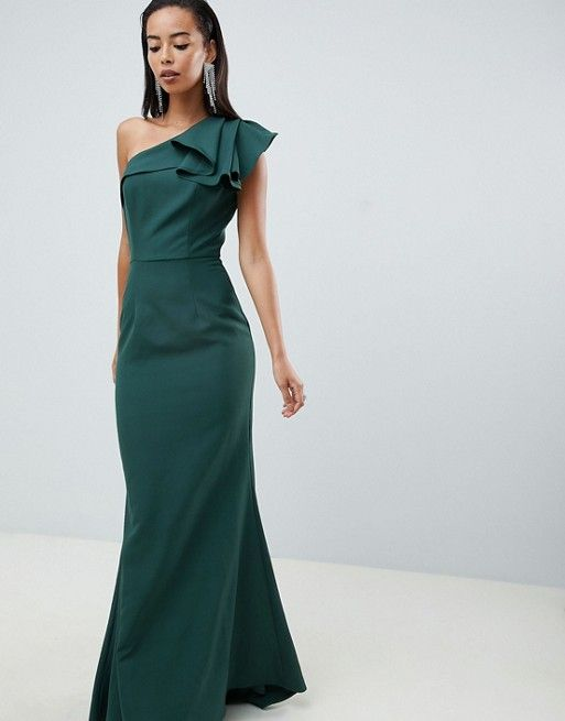 b81abbaee4a2 Jarlo Tall ruffle frill one shoulder maxi dress in green in 2019 ...
