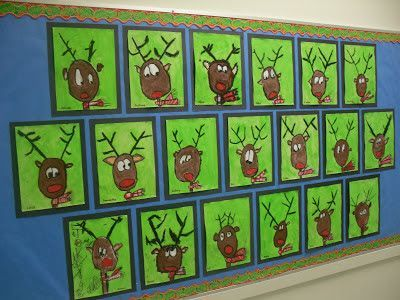 Directed Drawing Reindeer Portraits. Step by step directions in the post. How cute are these?!