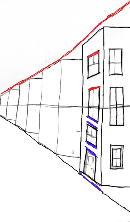 One point perspective lesson step by step