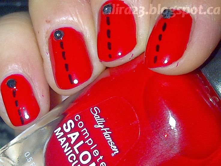 #SallyHansen #CSMTKO Red My Lips from #influenster and SH studs I got for Christmas and good old black Sharpie