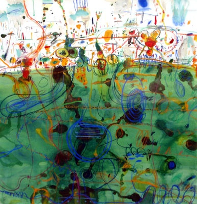 John Olsen, Untitled (frog in lily pond), c. 1978