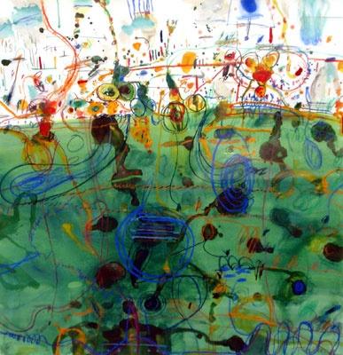 John Olsen, Untitled (frog in lily pond), c. 1978