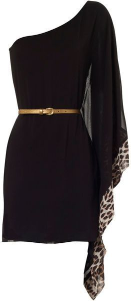 One Sleeve Animal Contrast Dress - Lyst