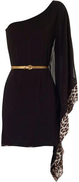 Jane Norman | Black One Sleeve Animal Contrast Dress