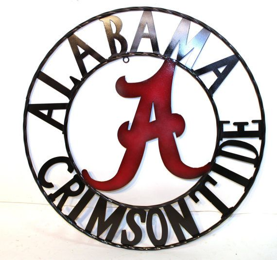 Alabama Crimson Tide Metal Sign 18 inch Alabama by CowGirlCentral