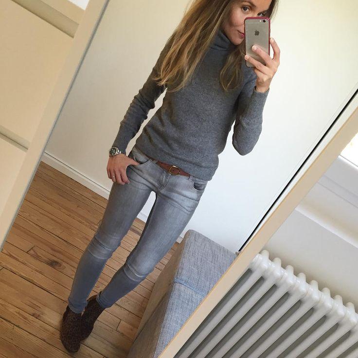 Pull/jean/boots ✔️ #outfit #ootd #lookoftheday #instalook #instafashion #whatimwearingtoday #greylook pull#ericbompard jean#zara boots#andre#jeportedesandre
