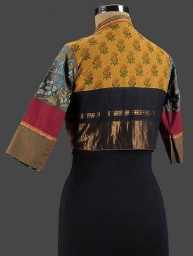 Mustard-Blue Cotton Blouse with Zari