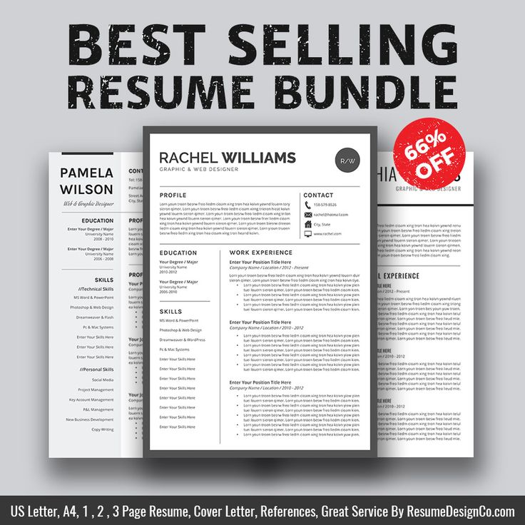 ► Best Selling Resume Bundle The Rachel B For Only $15 USD. Save 66% On Your Purchase Today! ► This best selling resume bundle includes 3 most popular & highest rated resume templates: The Rachel, The Pamela, The Sophia. ( See listing photos ) ResumeDesignCo provides high quality and professional resume templates / CV templates with matching cover letter, extra experience template, references template, fonts guide, icons guide and easy-to-follow user guide that will help you stand ou...