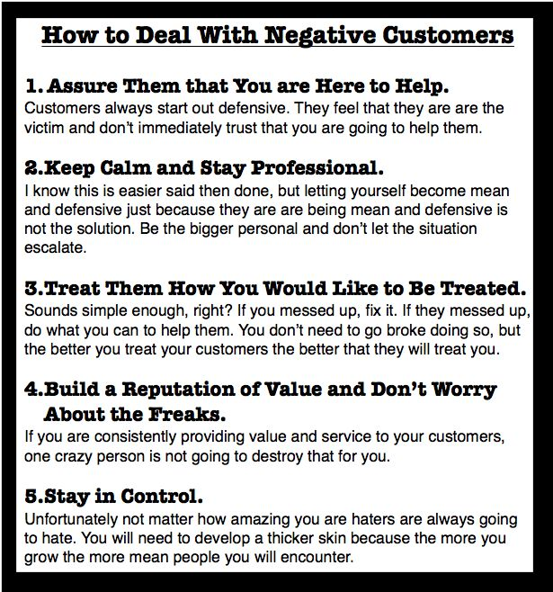 Great Blog post on How to Deal with Negative Customers.