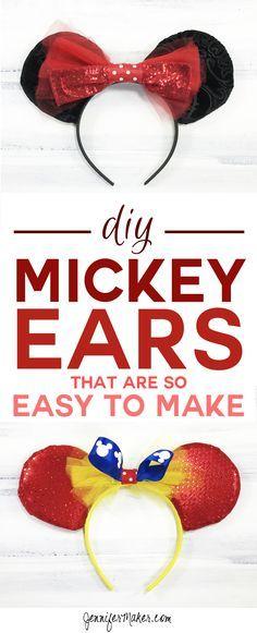 This DIY Mickey Ears tutorial is so easy to make! | Mickey Ears | DIY Disney Ears | How To Make a Mickey Ears Headband via @jenuinemom