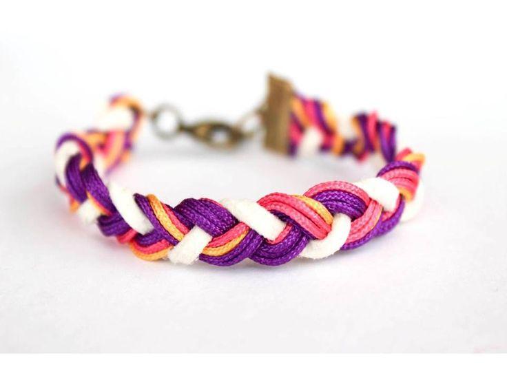 bransoletka  sznurek warkocz rzemyk DIY handmade