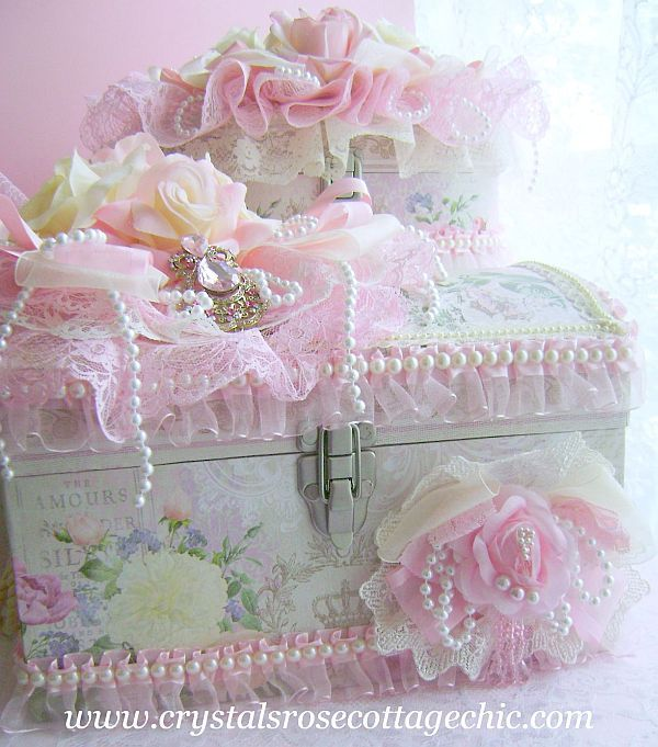 Make a pretty keepsake box: Cover plain box with pretty fabric or paper and embellish with lace, trims and handmade flowers.