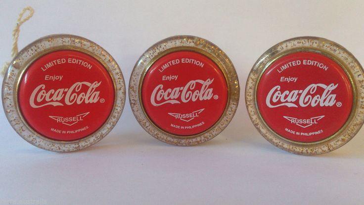 3x LIMITED EDITION Coca Cola RUSSELL Gold Glitter Clear Yo-Yo Coke YoYo Yo Yo