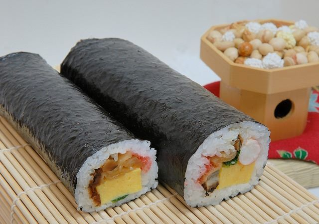 "During the beginning of February, Japan celebrates a ceremony called ""Setsubun."" This ceremony is to signal the coming of Spring. These uncut sushi rolls, called ""eho-maki"" are usually eaten during Setsubun in silence while facing the ""lucky direction"" of the year. The rolls are said to bring good luck to the person who eats it for the coming year."