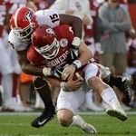 Oklahoma quarterback Baker Mayfield (6) is sacked by Georgia linebacker D'Andre Walker (15), during the second half of the Rose Bowl NCAA college football game, Monday, Jan. 1, 2018, in Pasadena, Calif.(AP Photo/Jae C. Hong)