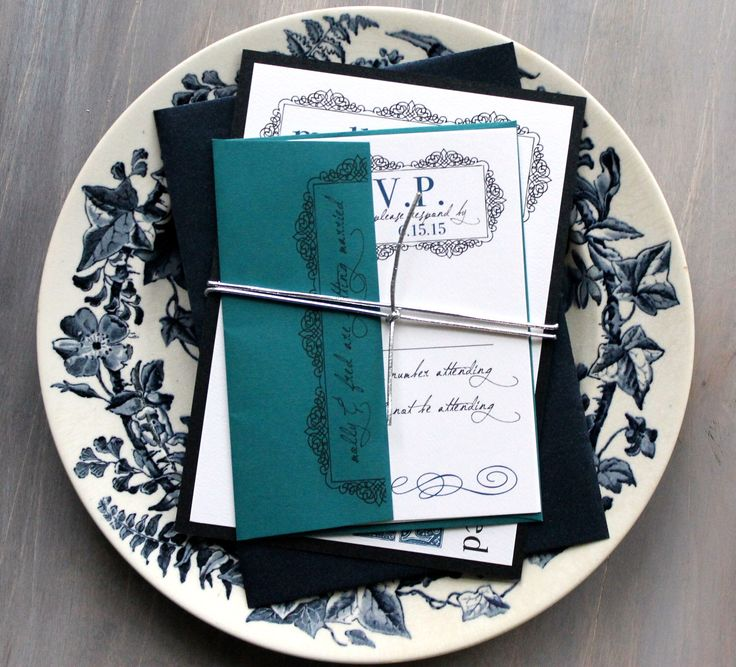 Navy And Teal Wedding Invitation, Navy Blue Wedding Invitation, Navy And  Silver Wedding Invitation